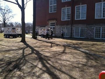 Preparations underway at St. Charles High School for President Obama's visit. By Afton Spriggs