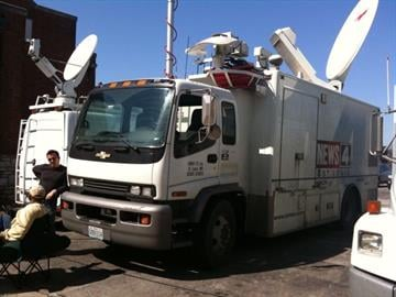 Our Crew was kicked out of the satellite truck while security dogs did a sweep By Afton Spriggs