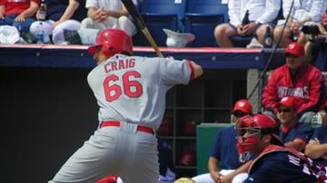 Cardinals prospect Allen Craig at bat in the first inning of Sunday's Nationals/Cardinals game. By Lakisha Jackson