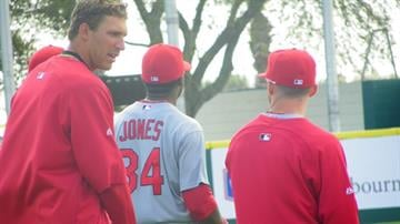 Cardinals utility man Joe Mather chats with Shane Robinson before the Nationals/Cardinals game on Sunday. By Lakisha Jackson