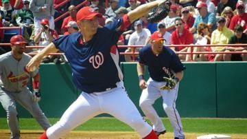 Washington Nationals pitcher Stephen Strasburg throws a pitch in the second inning of Sunday's Nationals/Cardinals game. By Lakisha Jackson