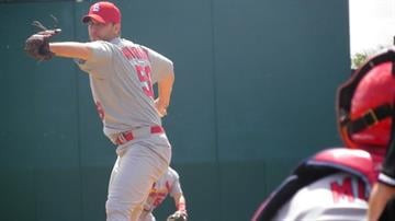Cardinals Starting pitcher Adam Wainwright throws a pitch before the first inning of Sunday's game featuring the Cardinals against the Washington Nationals By Lakisha Jackson