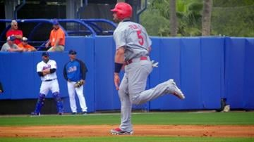 Cardinals first baseman Albert Pujols running to third base in the second inning of Monday's Mets-Cardinals game. By Lakisha Jackson