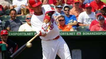 Cardinals prospect Allen Craig swings at a ball during his first at-bat of Tuesday's Nationals-Cardinals game. By Lakisha Jackson