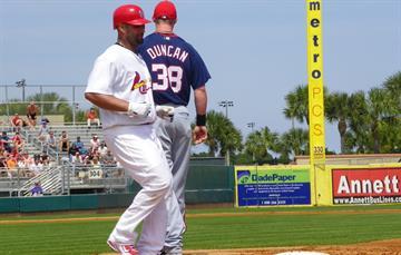 Cardinals first baseman Albert Pujols runs to first base on a single during Tuesday's Nationals-Cardinals game. By Lakisha Jackson
