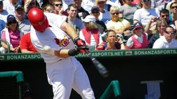 Cardinals RF Ryan Ludwick fouls off a ball in the second inning of Thursday's Braves-Cardinals game By Lakisha Jackson