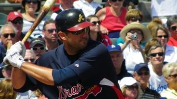 Ex-Cardinals and Braves firs baseman Troy Glaus up to bat during Thursday's Braves-Cardinals game By Lakisha Jackson