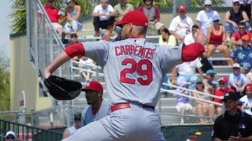 Cardinals starter Chris Carpenter throws a pitch in the second inning of Friday's game between the Marlins and the Cardinals. By Lakisha Jackson