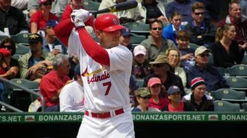 Cardinals outfielder Matt Holliday, who played for the first time since March 12 due to a strained rib cage, stands in for his first at-bat of Monday's game between the Cardinals and Red Sox By Lakisha Jackson