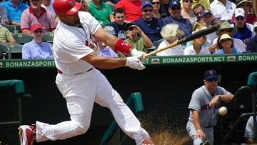 Cardinals first baseman Albert Pujols fouls off a ball in the first inning of Thursday's game featuring the Cardinals and the New York Mets. By Lakisha Jackson