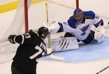DALLAS, TX - JANUARY 26:  Jaroslav Halak #41 of the St. Louis Blues makes a save against Michael Ryder #73 of the Dallas Stars at American Airlines Center on January 26, 2013 in Dallas, Texas.  (Photo by Ronald Martinez/Getty Images) By Ronald Martinez