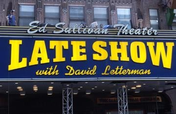 NEW YORK - JUNE 21: The Ed Sullivan Theater that houses the Late Shown with David Letterman Show is shown June 21, 2004 in New York City.  Phish performed on top of theater.  (Photo by Brad Barket /Getty Images) By Brad Barket