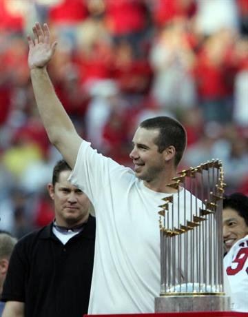 ST LOUIS, MO - OCTOBER 29:  Chris Carpenter waves to the fans during the St. Louis Cardinals World Series Victory Parade and Rally at Busch Stadium on October 29, 2006 in St. Louis, Missouri.  (Photo by Elsa/Getty Images) By Elsa
