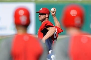 ST. LOUIS, MO - SEPTEMBER 4: Chris Carpenter #29 of the St. Louis Cardinals throws a simulated game before a game against the New York Mets at Busch Stadium on September 4, 2012 in St. Louis, Missouri. (Photo by Jeff Curry/Getty Images) By Jeff Curry