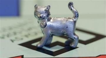 The newest Monopoly token, a cat, rests on the game board at Hasbro Inc. headquarters, in Pawtucket, R.I., Tuesday, Feb. 5, 2013. Voting on Facebook determined that the cat would replace the iron token. (AP Photo/Steven Senne) By Steven Senne