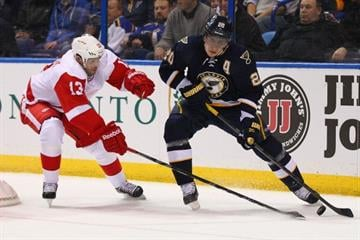 ST. LOUIS, MO - FEBRUARY 7: Pavel Datsyuk #13 of the Detroit Red Wings poke checks Alexander Steen #20 of the St. Louis Blues  at the Scottrade Center on February 7, 2013 in St. Louis, Missouri.  (Photo by Dilip Vishwanat/Getty Images) By Dilip Vishwanat