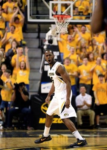 COLUMBIA, MO - FEBRUARY 09:  Keion Bell #5 of the Missouri Tigers reacts after scoring during the game against the Mississippi Rebels at Mizzou Arena on February 9, 2013 in Columbia, Missouri.  (Photo by Jamie Squire/Getty Images) By Jamie Squire