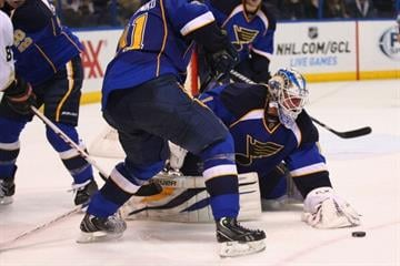 ST. LOUIS, MO - FEBRUARY 9: Brian Elliott #1 of the St. Louis Blues makes a save against the Anaheim Ducks at the Scottrade Center on February 9, 2013 in St. Louis, Missouri. (Photo by Dilip Vishwanat/Getty Images) By Dilip Vishwanat