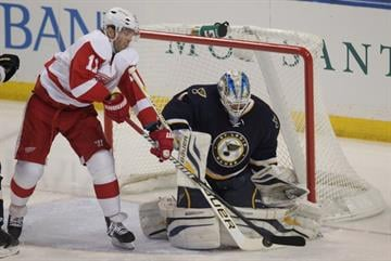 Detroit Red Wings Daniel Cleary tries to work the puck past St. Louis Blues goaltender Brian Elliott in the first period at the Scottrade Center in St. Louis on February 7, 2013. UPI/Bill Greenblatt By BILL GREENBLATT