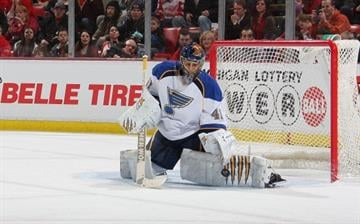 DETROIT, MI - JANUARY 23:  Jaroslav Halak #41 of the St. Louis Blues makes a save against the Detroit Red Wings during their NHL game at Joe Louis Arena on January 23, 2012 in Detroit, Michigan.  (Photo by Dave Sandford/Getty Images) By Dave Sandford