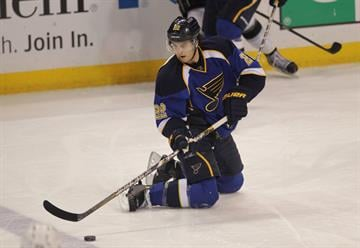 St. Louis Blues Kevin Shattenkirk controls the puck from his knees in the third period against the Los Angeles Kings at the Scottrade Center in St. Louis on February 11, 2013. Los Angeles won the game 4-1.   UPI/Bill Greenblatt By BILL GREENBLATT