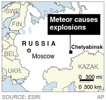 Map locates Chelyabinsk, Russia, where a meteor caused explosions in the area; By P. Wedel