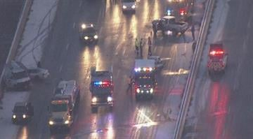 In south St. Louis County, southbound I-55 was shut down after at least six vehicles crashed on the Meramec River Bridge. Emergency crews removed one person from their vehicle and transported them to the hospital. By Brendan Marks
