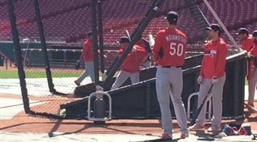Cardinals Adam Wainwright gets ready for batting practice Sunday in Cincinnati. (JJ Bailey/BaseballStL) By Elizabeth Eisele