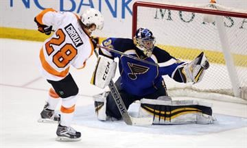St. Louis Blues goaltender Ryan Miller snags a shot by Philadelphia Flyers Claude Giroux during a shootout at the Scottrade Center in St. Louis on April 1, 2014.  St. Louis won the game 1-0.  UPI/Bill Greenblatt By BILL GREENBLATT