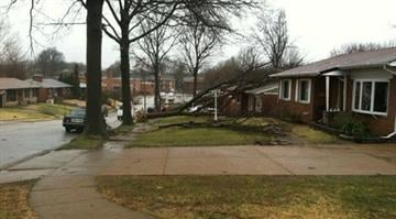 Damage in U City near the location of a gas main break Thursday morning. By Brendan Marks