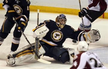 St. Louis Blues goaltender Ryan Miller gets his glove on a Colorado Avalanche shot on goal in the first period at the Scottrade Center in St. Louis on April 5, 2014.   UPI/Bill Greenblatt By BILL GREENBLATT