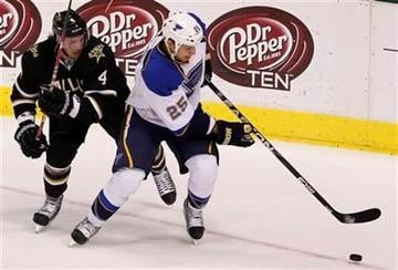 St. Louis Blues right wing Chris Stewart (25) and Dallas Stars defenseman Brendan Dillon (4) battle for the puck during the first period of an NHL Hockey game, Saturday, April 7, 2012, in Dallas. (AP Photo/Brandon Wade) By Brandon Wade