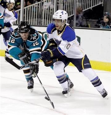 San Jose Sharks left wing Patrick Marleau (12) battles against St. Louis Blues center Andy McDonald (10) during the second period of an NHL hockey game Saturday, March 3, 2012 in San Jose, Calif. (AP Photo/Marcio Jose Sanchez) By Marcio Jose Sanchez