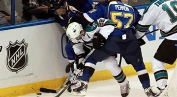St. Louis Blues David Backes (42) and David Perron (57) crush San Jose Sharks Dan Boyle in the first period during the first round of the Stanley Cup Playoffs at the Scottrade Center in St. Louis on April 12, 2012. UPI/Bill Greenblatt By KMOV Web Producer