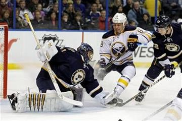St. Louis Blues goalie Jaroslav Halak (41), of Slovakia, makes a glove save as Buffalo Sabres' Cody McCormick (8) looks for the rebound in the first period of an NHL hockey game, Saturday, Jan. 21, 2012, in St. Louis.(AP Photo/Tom Gannam) By Tom Gannam