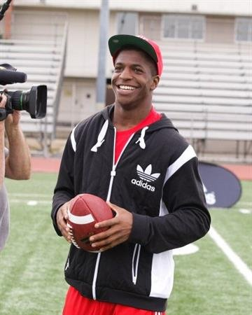 LOS ANGELES, CA - MARCH 19:  adidas and Titus Young pop into a football practice in Los Angeles to capture game faces as part of the adidas Facebook Game Face contest.  (Photo by Noel Vasquez/Getty Images for adidas) By Noel Vasquez
