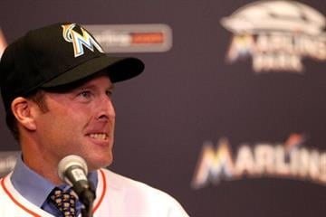MIAMI, FL - NOVEMBER 02:  Manager Mike Redmond of the Miami Marlins speaks to the media after being named manager at Marlins Park on November 2, 2012 in Miami, Florida.  (Photo by Marc Serota/Getty Images) By Marc Serota