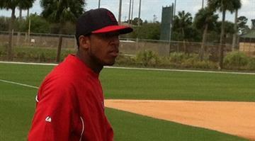 Oscar Taveras at Cardinals spring training - February 2013 By Brendan Marks