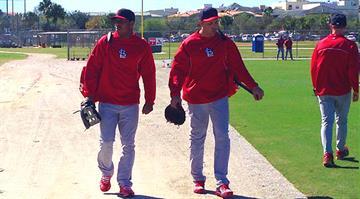 Oscar Taveras and Carlos Beltran at 2013 Cardinals Spring Training. By Bryce Moore