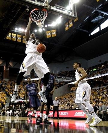 COLUMBIA, MO - FEBRUARY 09:  Alex Oriakhi #42 of the Missouri Tigers dunks during the game against the Mississippi Rebels at Mizzou Arena on February 9, 2013 in Columbia, Missouri.  (Photo by Jamie Squire/Getty Images) By Jamie Squire