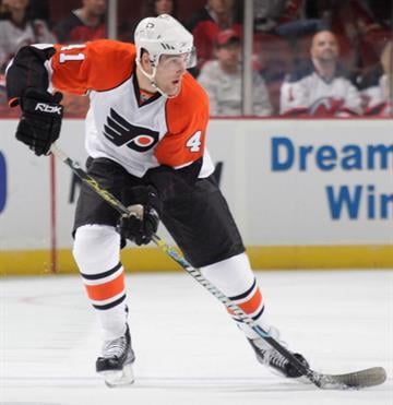 NEWARK, NJ - SEPTEMBER 26: Patrick Maroon #41 of the Philadelphia Flyers in action against the New Jersey Devils on September 26, 2009 at the Prudential Center in Newark, New Jersey.  (Photo by Paul Bereswill/Getty Images) By Paul Bereswill