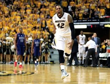 COLUMBIA, MO - FEBRUARY 09:  Alex Oriakhi #42 of the Missouri Tigers reacts after scoring during the game against the Mississippi Rebels at Mizzou Arena on February 9, 2013 in Columbia, Missouri.  (Photo by Jamie Squire/Getty Images) By Jamie Squire