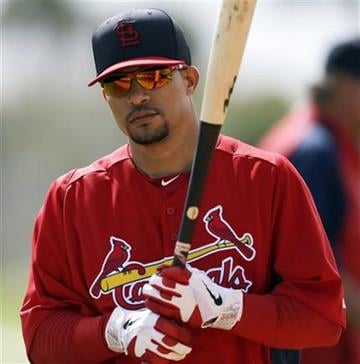 St. Louis Cardinals shortstop Rafael Furcal waits to take batting practice during spring training baseball, Tuesday, Feb. 19, 2013, in Jupiter, Fla. (AP Photo/Julio Cortez) By Julio Cortez