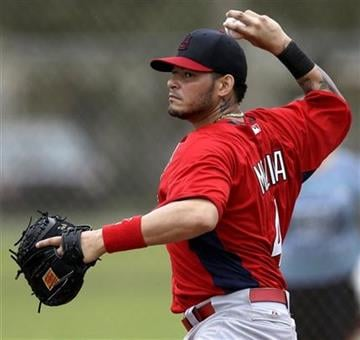 St. Louis Cardinals catcher Yadier Molina throws to third base during the team's first full squad workout at spring training baseball, Friday, Feb. 15, 2013, in Jupiter, Fla. (AP Photo/Julio Cortez) By Julio Cortez