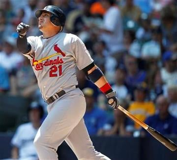 St. Louis Cardinals' Allen Craig watches his home run against the Milwaukee Brewers during the third inning of a baseball game, Wednesday, July 18, 2012, in Milwaukee. (AP Photo/Jeffrey Phelps) By Jeffrey Phelps