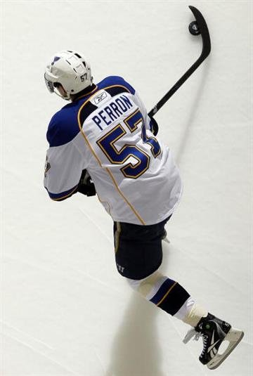 NEWARK, NJ - MARCH 20:  David Perron #57 of the St. Louis Blues warms up before playing against the New Jersey Devils at the Prudential Center on March 20, 2010 in Newark, New Jersey.  (Photo by Jim McIsaac/Getty Images) By Jim McIsaac