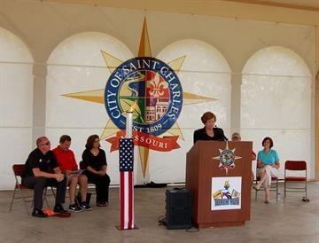 St. Charles Mayor Sally Faith welcomes as host city for the fourth leg of the torch run. (Courtesy: Kaia Fox, SMSG) By Bryce Moore
