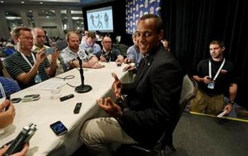 Missouri quarterback James Franklin talks with reporters during the Southeastern Conference football media days in Hoover, Ala., Tuesday, July 16, 2013. (AP Photo/Dave Martin) By Dave Martin
