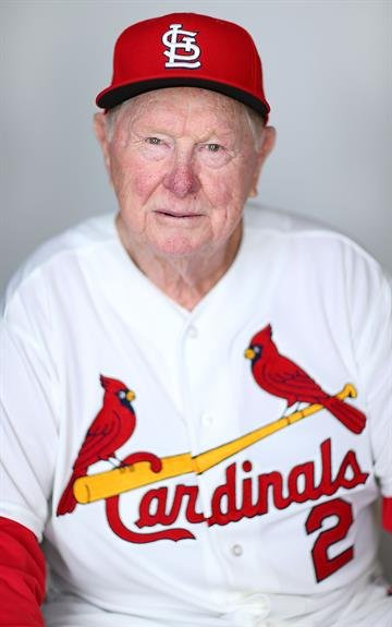 JUPITER, FL - FEBRUARY 19: Red Schoendienst #2 of the St. Louis Cardinals poses during photo day at Roger Dean Stadium on February 19, 2013 in Jupiter, Florida.  (Photo by Mike Ehrmann/Getty Images) By Mike Ehrmann