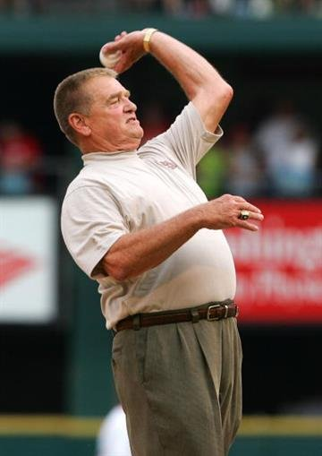 ST. LOUIS - JULY 19:  Former St. Louis Cardinals manager Whitey Herzog throws out the first pitch before the Cardinals vs. the Milwaukee Brewers game on July 19, 2005 at Busch Stadium in St. Louis, Missouri.  (Photo by Elsa/Getty Images) By Elsa